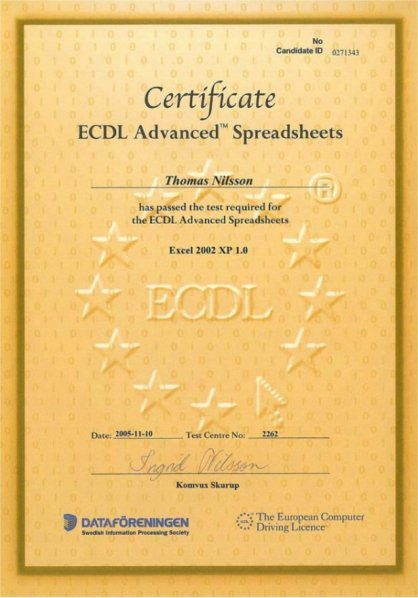 ECDL - Advanced Excel